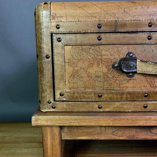 American Leather Travel Suitcase Storage Box on Frame, 20th Century For Sale - Image 3 of 12