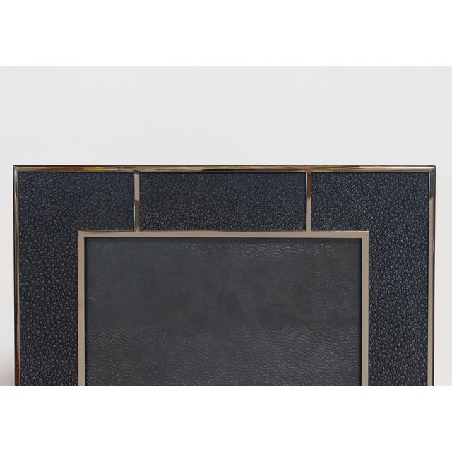 Modern Black Shagreen Nickel-Plated Photo Frame by Fabio Ltd For Sale - Image 3 of 4