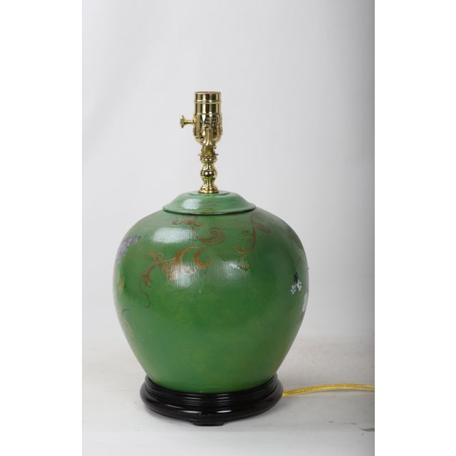 Late 20th Century 20th Century Art Deco Hand Painted Porcelain Table Lamp For Sale - Image 5 of 9