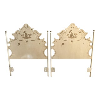 French Hand-Painted Tole Twin Headboards - a Pair For Sale