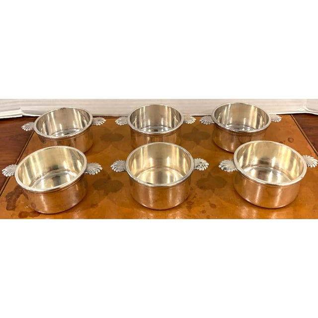 Christofle French Silverplated Handled Open Tureens/ Pot De Crème by Europe Felix - Set 6 For Sale - Image 4 of 10