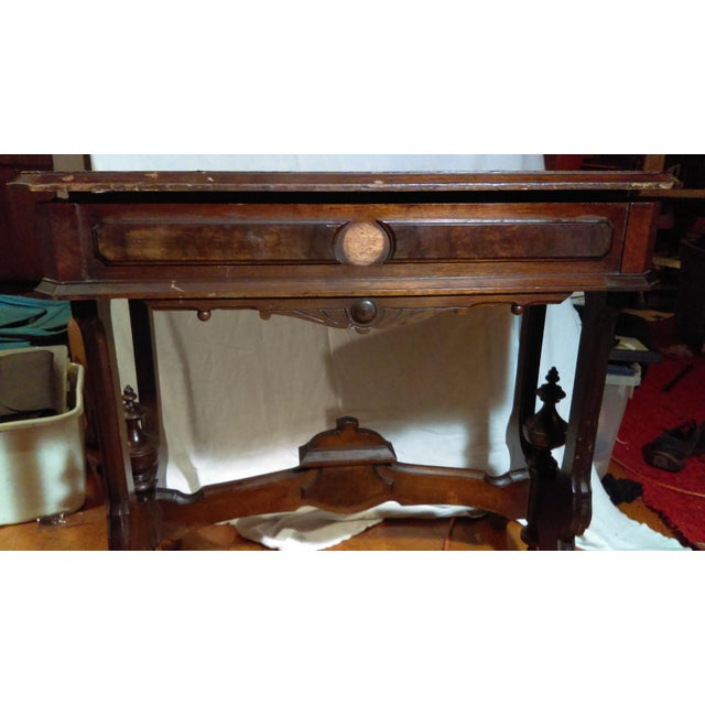 Antique Writing Desk With Stretched Leather Top - Image 6 of 11