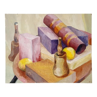 1980s Still Life Oil on Board Painting For Sale