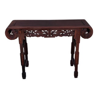 Asian Mahogany Console Table For Sale