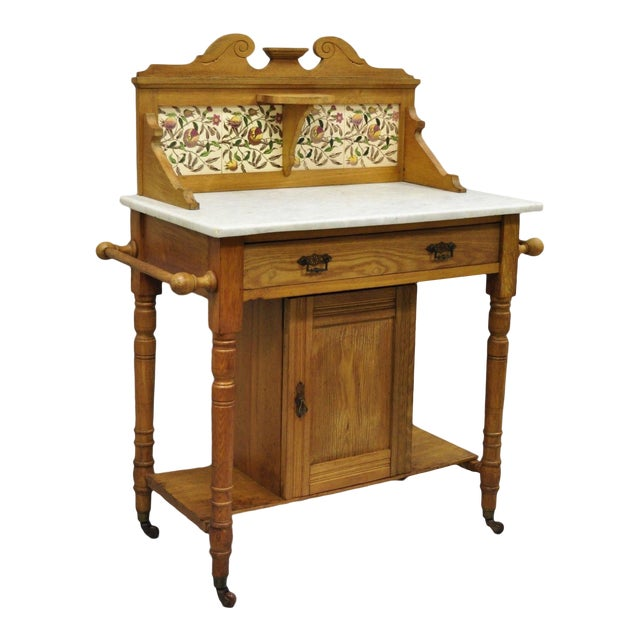Eastlake Victorian Marble Top Oak Wash Stand Commode Tile Backsplash ...