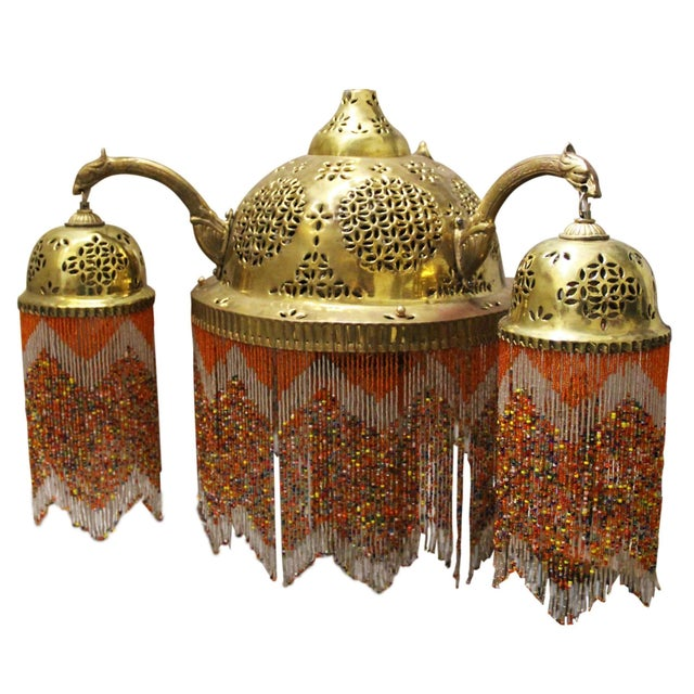 Vintage Moroccan Brass & Beaded Pendant Lamp For Sale