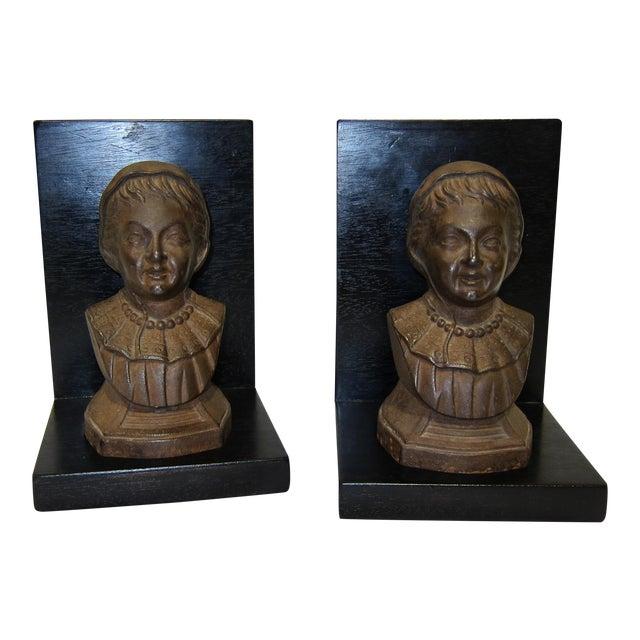 Vintage Sarreid LTD Cast Iron & Wood Bookends - A Pair - Image 1 of 6