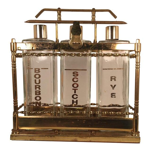 Bourbon Scotch Rye Bar Caddy Liquor Decanters - Image 1 of 6