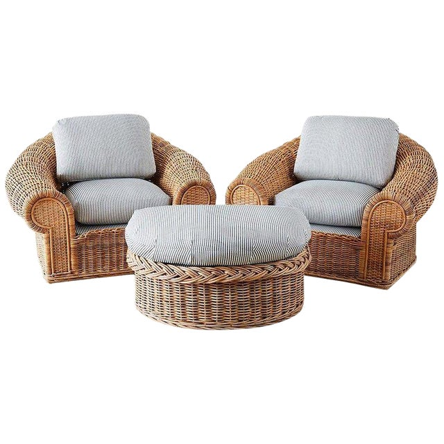 Michael Taylor Style Wicker Lounge Chairs With Ottoman For Sale