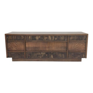 1970's Brutalist Credenza by Lane For Sale