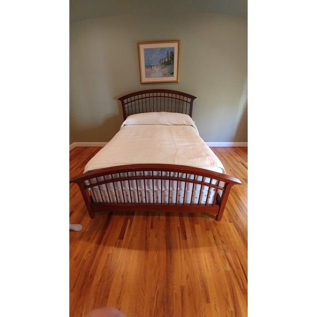 Thomasville Queen Size Cherry Wood Bed Frame | Chairish