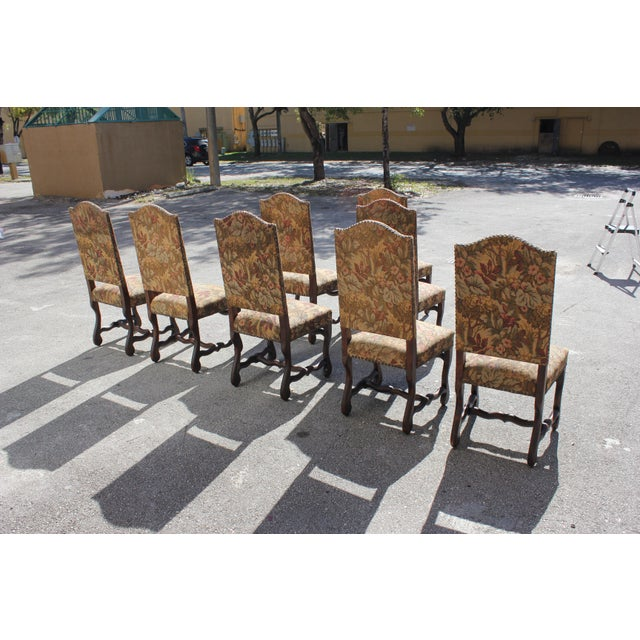 1900s Vintage French Louis XIII Style Os De Mouton Dining Chairs- Set of 8 For Sale In Miami - Image 6 of 13