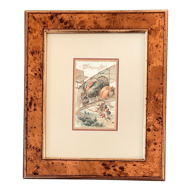 Vintage Thanksgiving Day Framed Lithograph Post Card Burled Wood Frame For Sale