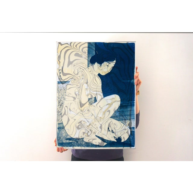 """""""Geisha in the Bath"""", Hashiguchi Goyo Inspired Japanese Cyanotype With Marbling on Watercolor Paper 2020 For Sale - Image 4 of 10"""