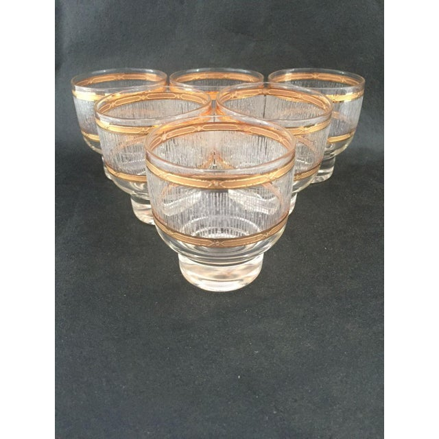 Glass Mid Century Gold & Clear Textured Short Cocktail Glasses - Set of 6 For Sale - Image 7 of 8