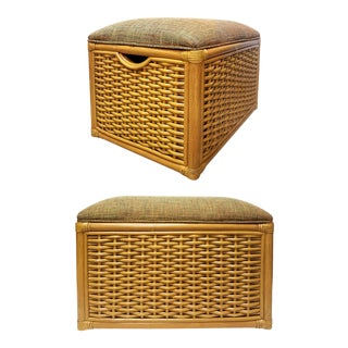 Vintage Upholstered Woven Rattan Benches Seats- a Pair For Sale