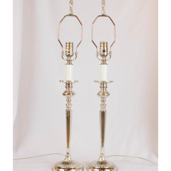 Silverplate Candlestick Lamps - A Pair For Sale In Boston - Image 6 of 7