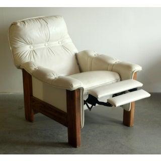 Vintage Mid Century Modern White Vinyl & Oak Recliner Chair Preview