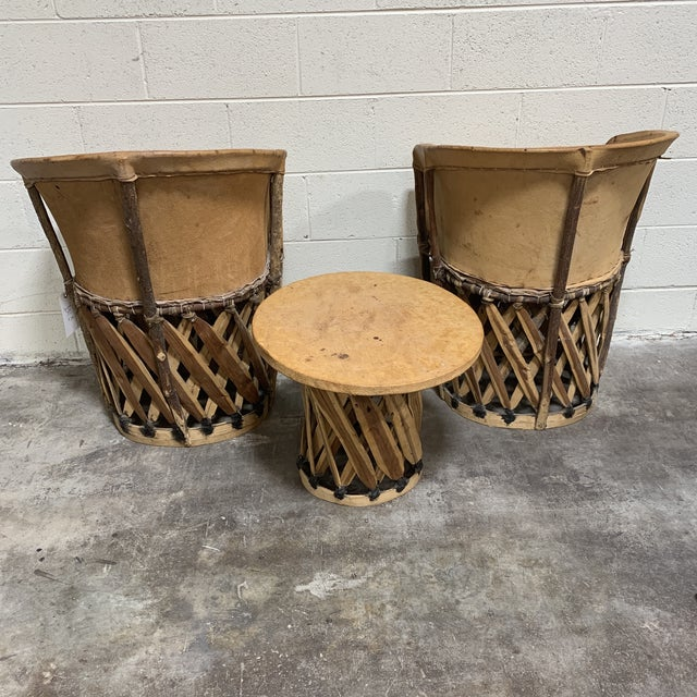 1960s Equipale Chairs and Tabl Set - Set of 3 For Sale - Image 4 of 12