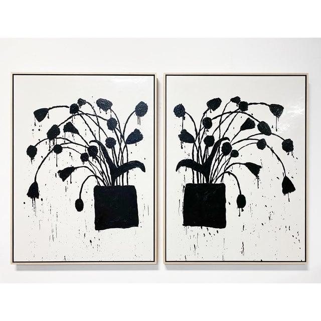 """Encaustic Exclusive John O'Hara """"Botanical, 10"""" Encaustic Paintings (2-Panel) For Sale - Image 7 of 8"""
