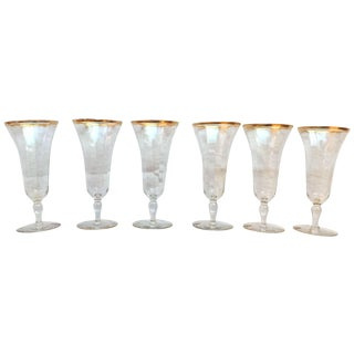 Vintage Gold Rimmed Glasses - Set of 6