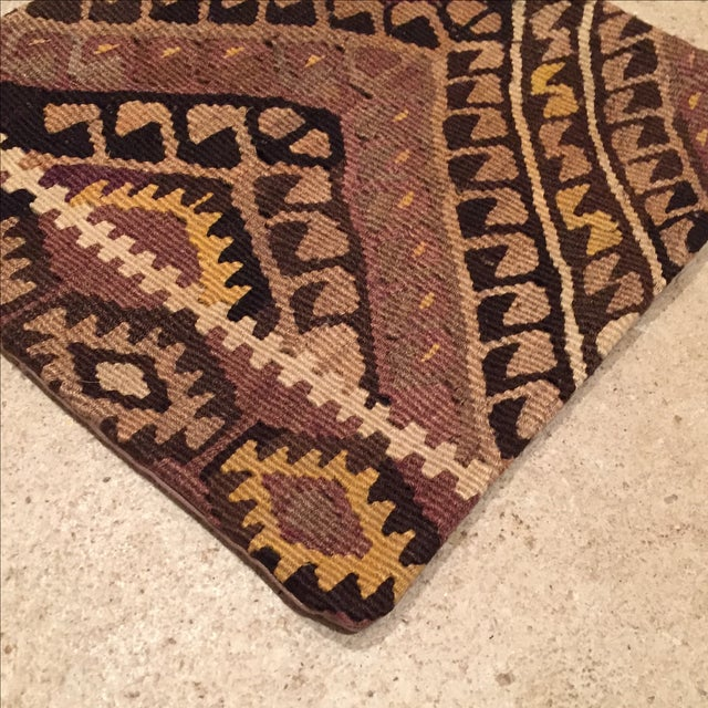 Vintage Brown Kilim Pillow Case - Image 3 of 5
