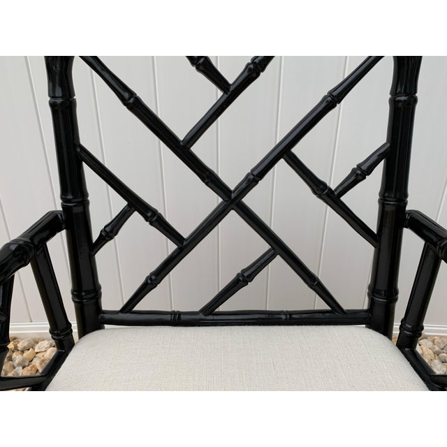 Jonathan Adler Jonathan Adler Black Lacquered Faux Bamboo Chippendale Chairs, Pair For Sale - Image 4 of 13