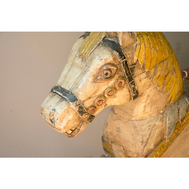 Antique Wooden Polychrome Carousel Horse - Image 4 of 8