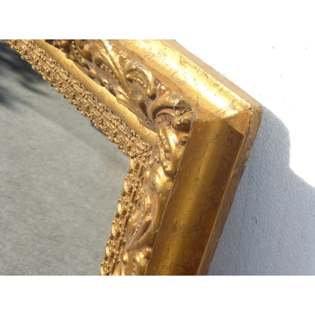 Vintage Antique Wall Mantle Mirror Decorative Gold Gilt Ornate Square Frame For Sale In Los Angeles - Image 6 of 10