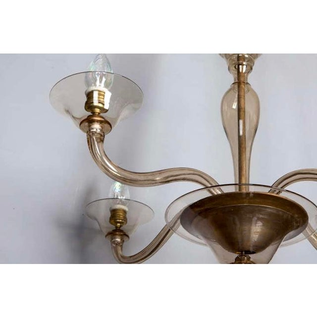 Italian Mid Century Venini Amber Murano Glass Chandelier - Image 5 of 6
