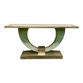 Currey & Co. Green Sea Glass Console Table