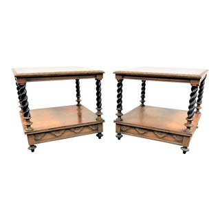 Hollywood Regency Carved Fruitwood End Tables - a Pair For Sale