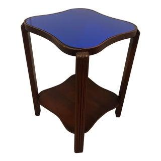 1940s Art Deco Cobalt Blue Glass Mirror Top Table For Sale