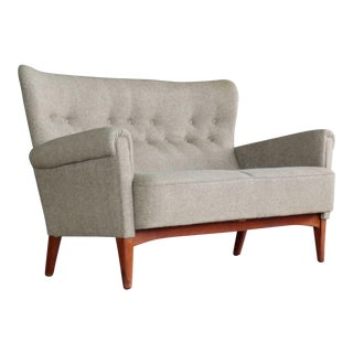 Danish Midcentury Sofa or Settee in Teak & Gray Wool by Fritz Hansen, circa 1955