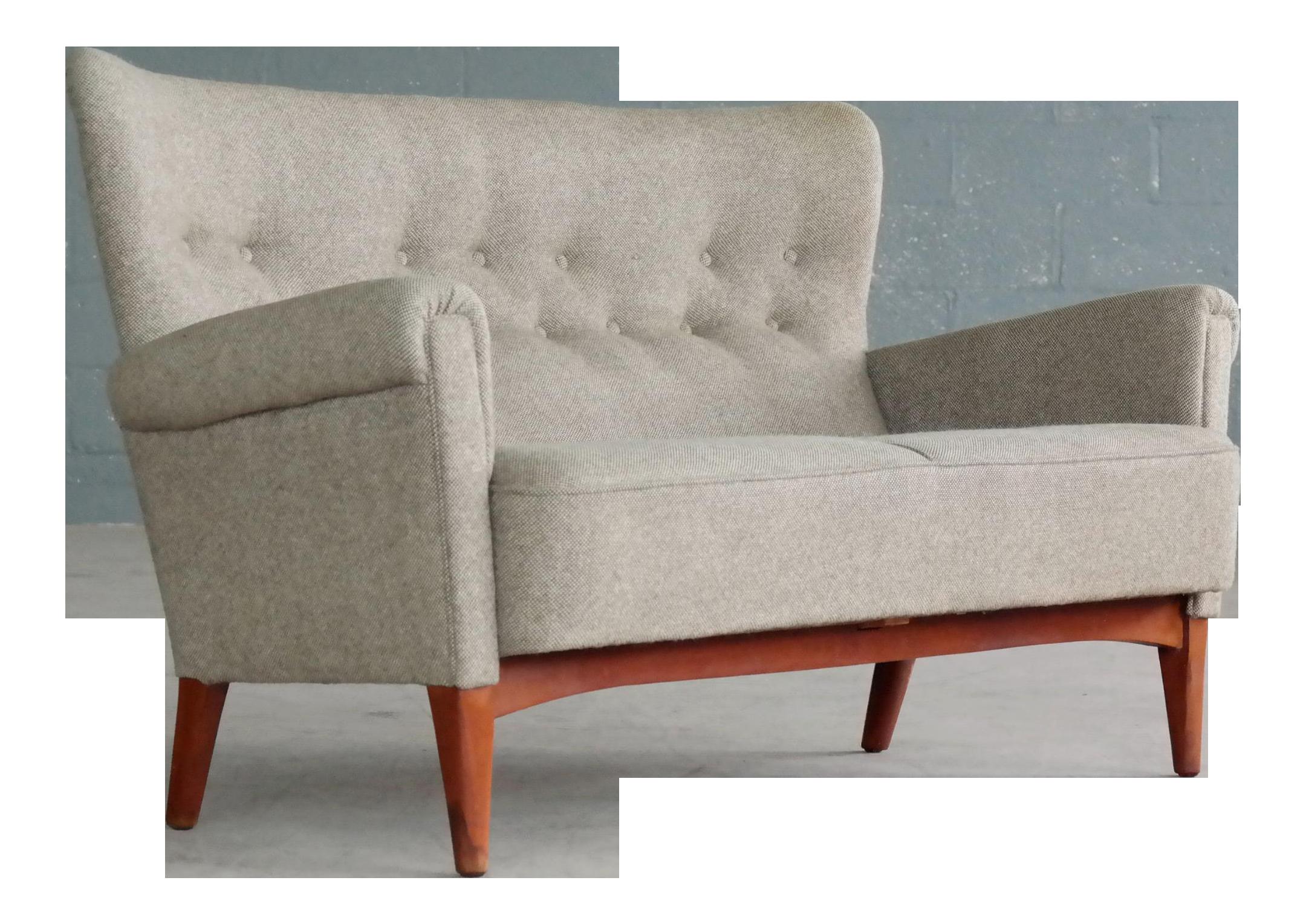 Danish Midcentury Sofa Or Settee In Teak U0026 Gray Wool By Fritz Hansen, Circa  1955