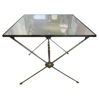 1940's French Neoclassical Style Brass Side Table For Sale