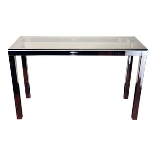 Mid Century Smoke Glass & Chrome Console Sofa Table Baughman Style