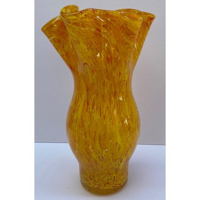 Murano Vintage Murano Mottled Spatter Yellow Orange Glass Vase For Sale - Image 4 of 7