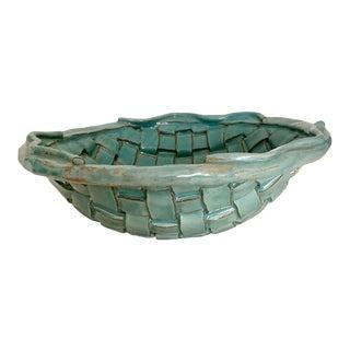 2005 Studio Sage Green Basket Weave Ceramic Bowl For Sale