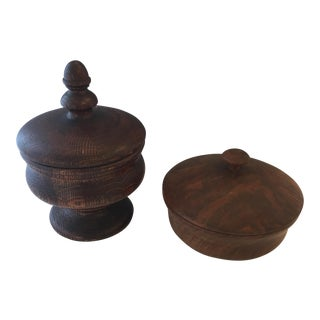Antique English Wood Round Jars - A Pair