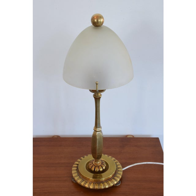 French Art Deco Bronze Table Lamp by Henry Petitot, 1930s For Sale - Image 6 of 13