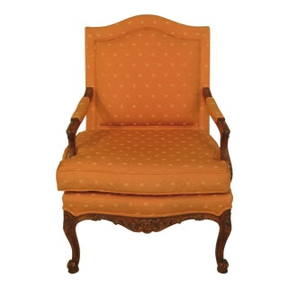 French Louis XV Style Upholstered Open Arm Bergere Chair