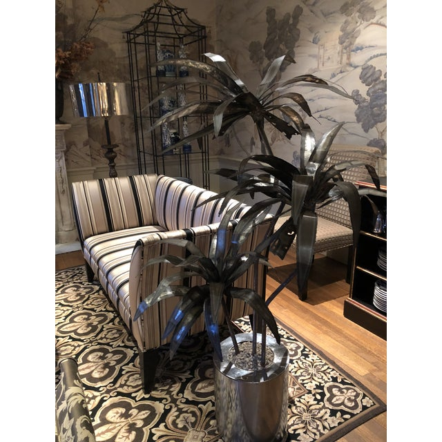 Mid-Century Brutalist Steel Cut Potted Palm Tree For Sale - Image 11 of 12