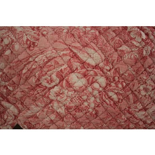 Antique French Toile Lart Daimer Nantes 18th Century Compilation Textile With Birds Old Valance Quilted With Pink Scallop For Sale