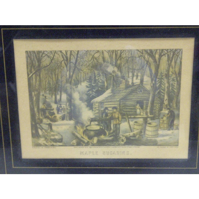 """Currier & Ives """"Maple Sugaring"""" Lithograph Reprint - Image 4 of 7"""