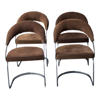 1950s Mid Century Modern B Altman Brown Upholstered Chrome Dining Chairs - Set of 4 For Sale
