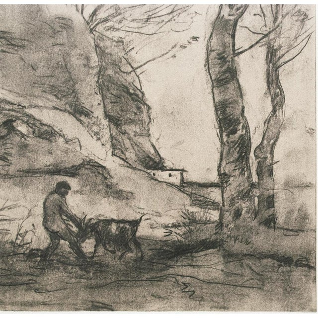 Vintage Cottage Lithograph After Chalk Drawing by Corot For Sale - Image 4 of 9