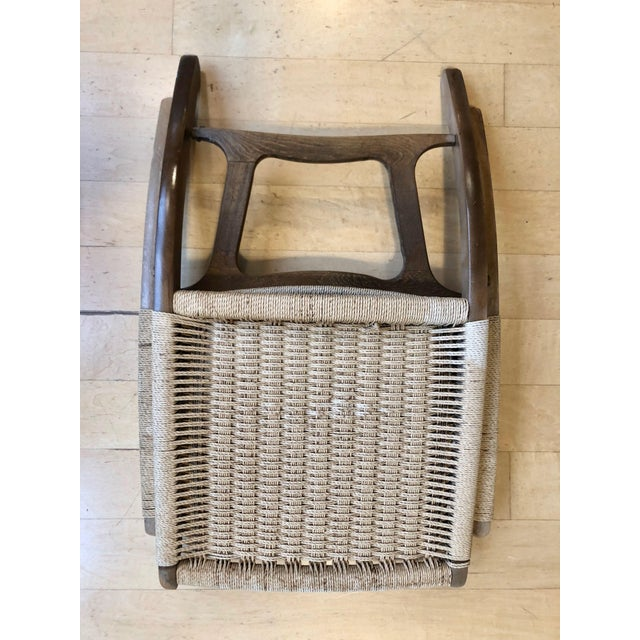 1960's Danish Modern Folding Rope Chair & Ottoman - 2 Pieces For Sale In Portland, OR - Image 6 of 10