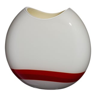 Small Eclissi Vase in Red, Ivory, and Grey by Carlo Moretti For Sale