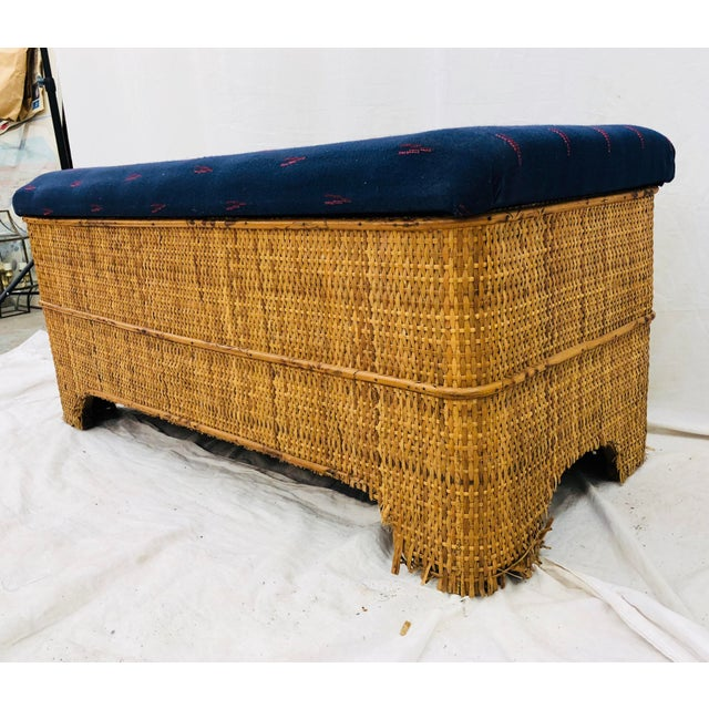 Antique Woven Bamboo Blanket Bench For Sale In Raleigh - Image 6 of 10